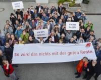 Nichts sehen...Nichts hören...Nichts sagen...So wird das nichts mit der guten Rente! Aktion der DGB Region München zusammen mit Betriebs- und PersonalrätInnen von ver.di, Foto: DGB/Werner Bachmeier