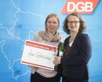 Katrin Skirlo, DGB-Regionsgeschäftsführerin aus Sülzetal, und Tina Kolbeck-Landau, Pressespecherin aus Hannover