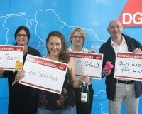 Jana Sündermann, Viola Nold, Ivona Glajic und Torsten Hannig; DGB-Hauptamtliche aus Braunschweig und Hannover