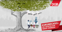 """Bild aus dem Erklärfilm """"Gesetzliche Rente stärken"""", Illustration eines Baumes, der lächelt. An einem Ast hängt eine Schaukel, auf der eine Gruppe Männer und Frauen sitzt; DGB-Logo; Kampagnenlogo mit """"Kurswechsel: Die gesetzliche Rente stärken!"""""""