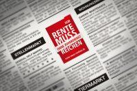 DGB Renten-Kampagne Beitragsbild Kleinanzeige zeigt beispielhaft eine Kleinanzeige im Zeitungslayout