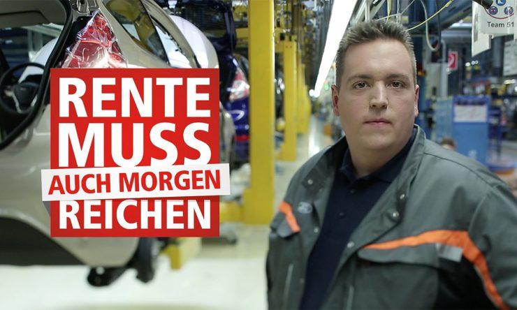 Mitarbeiter in Montagehalle für Autos; Überschrift: Rente muss auch morgen reichen