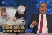 "Screenshot einer ZDF ""heute show""-Folge zum Thema Rentenpolitik der Großen Koalition"