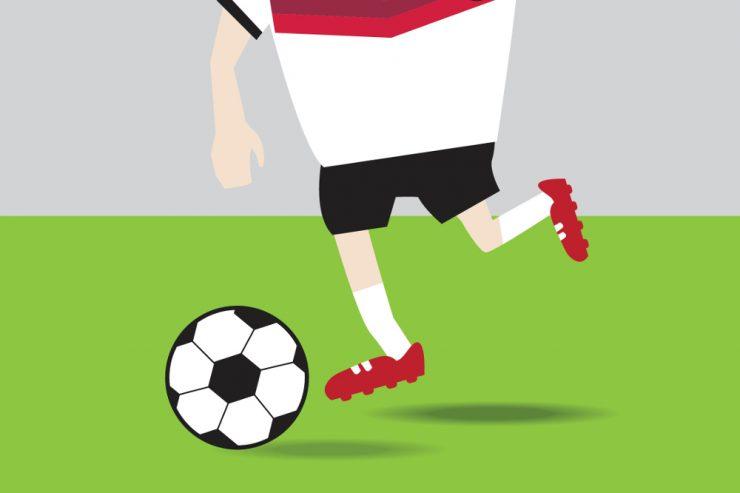"""Zeichnung eines Fußballers im """"Deutschland-Trikot"""" mit Ball am Fuß"""