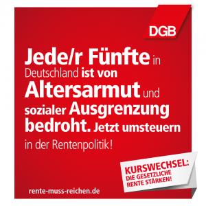 Jede/r Fünfte in Deutschland ist von Altersarmut und sozialer Ausgrenzung bedroht. Jetzt umsteuern in der Rentenpolitik!