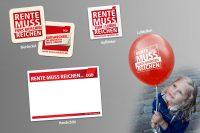 """Abbildung mit verschiedenen Kampagnenmaterialien """"Bierdeckel"""", """"Aufkleber"""", """"Handschild"""" und """"Luftballon"""""""