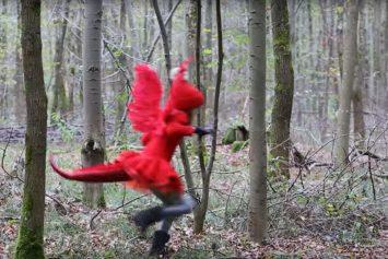 Eine Person im roten Drachenkostüm hüpft durch den Wald. Screenshot Video.
