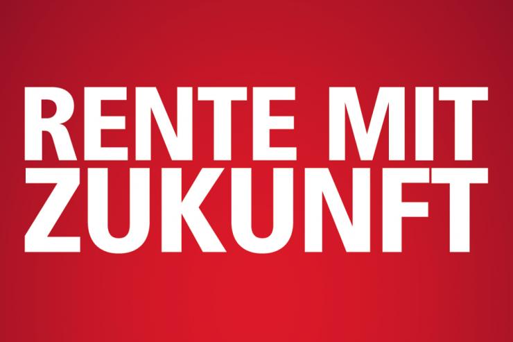 """Schriftzug """"Rente mit Zukunf"""" (weiße Schrift auf rotem Grund)"""